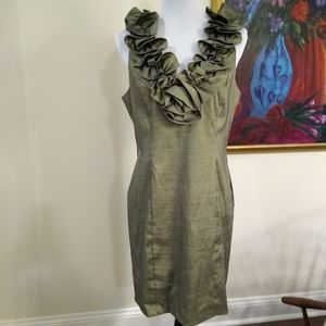 S. L. Fashions sheath dress w/ruffled neckline, 12